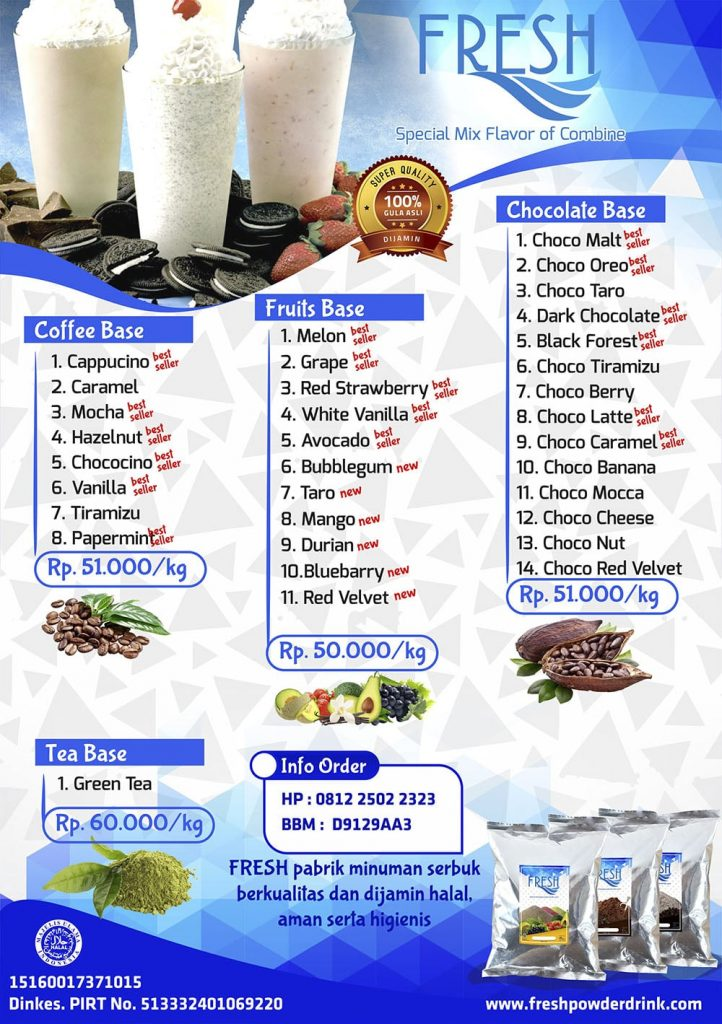 daftar harga bubuk bahan baku minuman kiloan