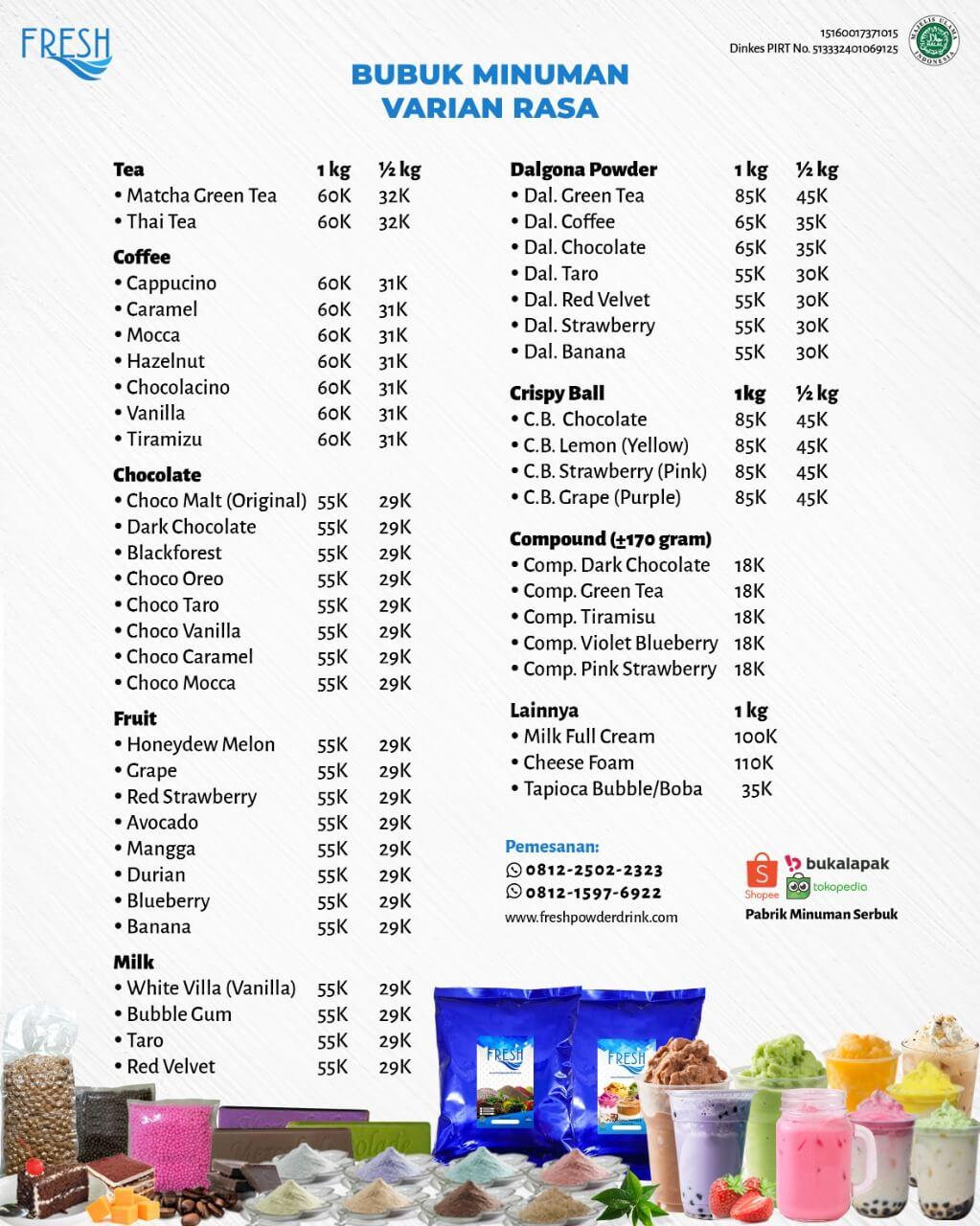 daftar harga bubuk minuman fresh powder drink